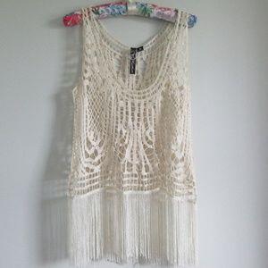 Crochet/Fringe Boho Tank Med NWOT Cream